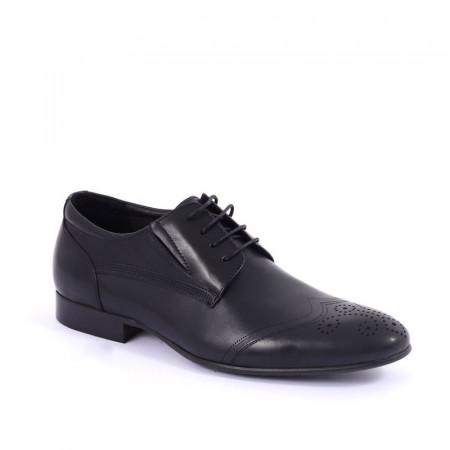 Pantofi din piele naturală cod C211301 Negri - Pantofi maro din piele naturală, model simplu, finisaje îngrijite cu undesing deosebit prin vârful perforat - Deppo.ro