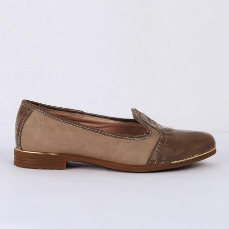 Pantofi din piele naturală nude Cod 1254 - Pantofi damă din piele naturală întoarsă , cu vârf lăcuit  Foarte comfortabili - Deppo.ro