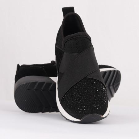 Pantofi sport cod LMNY-8 Negri - Pantofi sport din piele ecologică și material textil cu talpă din spumă și închidere cu scai - Deppo.ro
