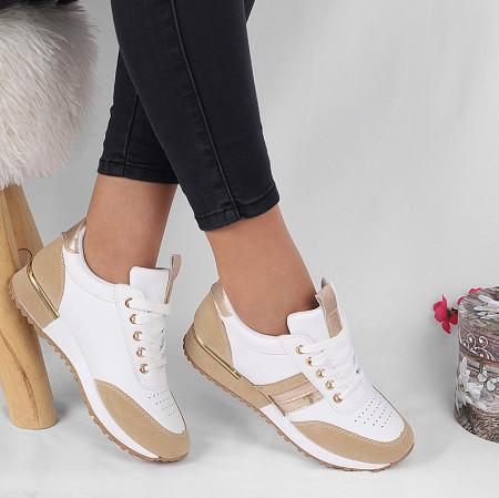 Pantofi Sport Lexie White - Pantofi sport alb/bej cu detalii aurii -piele ecologică de înalta calitate cu interior din material textil respirabil si talpă groasă, flexibilă - Deppo.ro