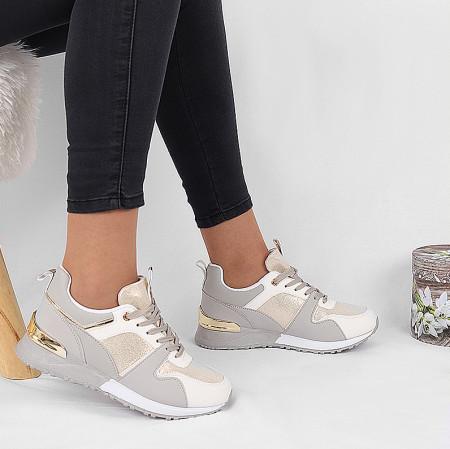Pantofi Sport Sarah - Pantofi sport gri cu sclipici și detalii auriidin piele ecologică de înalta calitate cu interior din material textil respirabil si talpă groasă, flexibilă - Deppo.ro