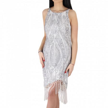 Rochie Alma - Rochie elegantă albă acoperita cu un material tip pânză argintie, pune-ți silueta în evidență și atrage toate privirile - Deppo.ro