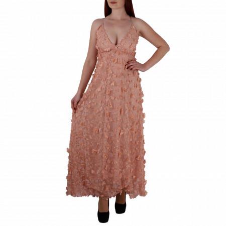 Rochie Elaina Roz - Rochie lungă roz, elegantă potrivită pentru orice ocazie cu modele florale deosebite,simte-te atrăgătoare purtând această rochie și strălucește la urmatoarea petrecere. - Deppo.ro