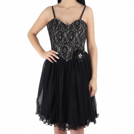 Rochie Lauren Black - Rochie elegantă cu material dantelat, pune-ți silueta în evidență și atrage toate privirile - Deppo.ro