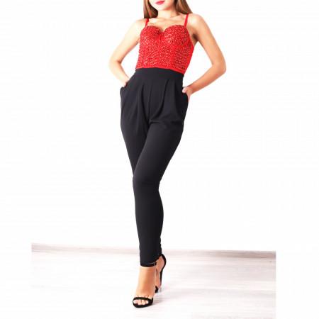 Salopeta Natasha Neagră - Salopetă din material ușor elastic, comodă, dar elegantă! Strălucește la următoarea petrecere și poartă această salopetă! - Deppo.ro