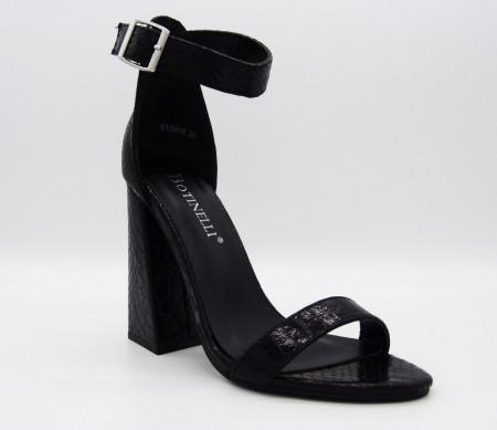 Sandale cod ST0018 Negre - Sandale din piele ecologică cu tocul de 10 cm si închidere cu cataramă - Deppo.ro