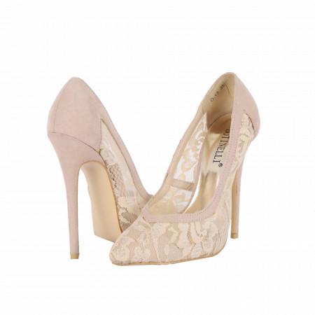 Pantofi cu toc cod O13 Bej - Pantofi din piele ecologică întoarsă în combinație cu material tip dantelă - Deppo.ro