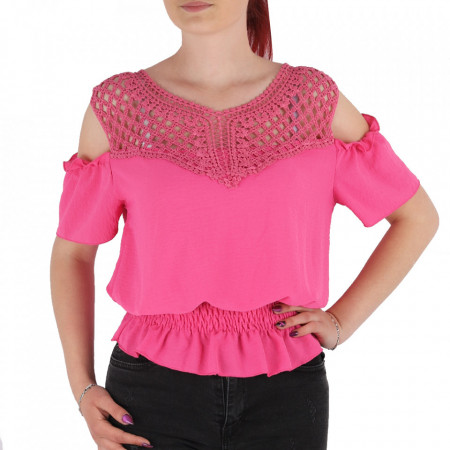 Bluză pentru dame tip cămășuță cod NN001 Pink - Bluză tip cămășuță pentru dame Model decorativ brodat - Deppo.ro