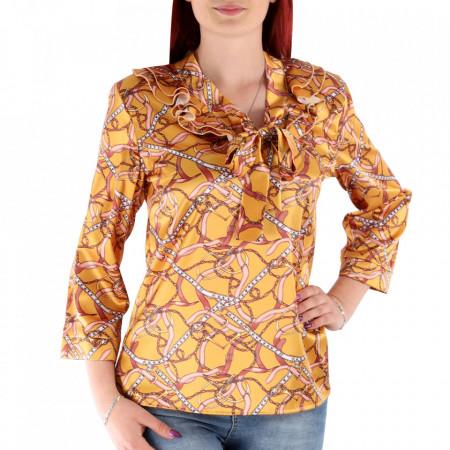 Cămașă pentru dame cod BLK1 Galbenă - Cămașă pentru damedin material satinat Model decorativ - Deppo.ro