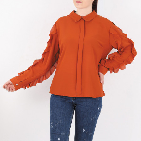 Cămașă Vanessa Orange - Secretul eleganței constă în simplitate! Cămașă elegantă pentru dame! Mânecă lungă cu imprimeu din volănașe! - Deppo.ro