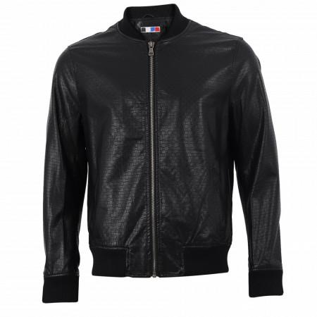 Geacă din piele ecologică pentru bărbați cod NZ3121 Neagră - Geacă din piele ecologică pentru bărbați model primăvară-toamnă pe negru - Deppo.ro