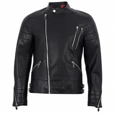 Geacă din piele ecologică pentru bărbați cod XH-88081 Neagră - Geacă din piele ecologică pentru bărbați model primăvară-toamnă pe negru - Deppo.ro