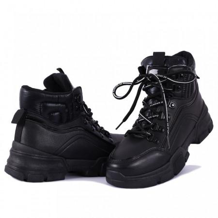 Ghete pentru dame cod X655 Negre - Ghete sport pentru dame din piele ecologicăfoarte confortabili cu un calapod comod și închidere cu şiret - Deppo.ro