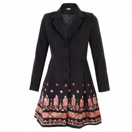 Palton Renata Black - Palton cu închidere cu nasturi, căptușit pe interior. Îmbracă-l la rochii sau ținute office. - Deppo.ro