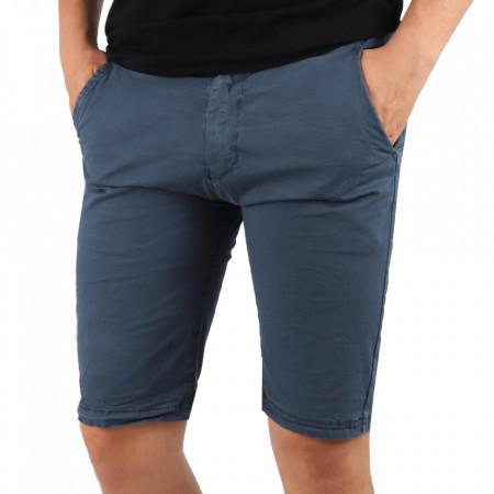 Pantaloni scurți pentru bărbați cod KS22-145 Blue - Pantaloni  casual pentru bărbați din material ușor elastic, de culoare albastră - Deppo.ro