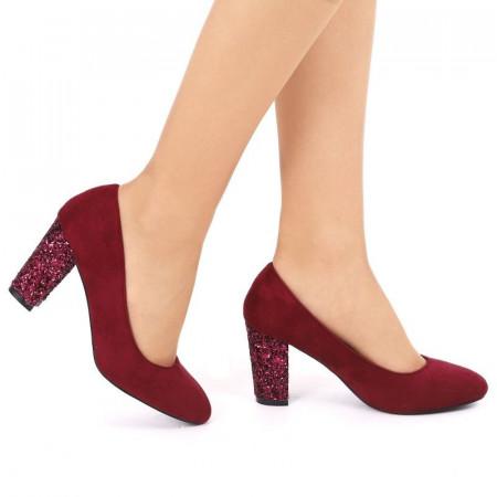 Pantofi cu toc cod EK0004 Vişini - Pantofi vişinii din piele întoarsă ecologică de înaltă calitate cu toc patrat de 8 cm şi vârf rotunjit - Deppo.ro