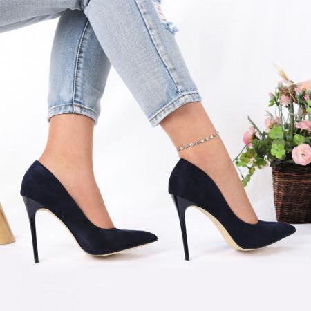 Pantofi cu toc cod EK0014 Navy - Pantofi cu toc din piele ecologică cu un design unic, fii în pas cu moda şi străluceşte la următoarea petrecere. - Deppo.ro
