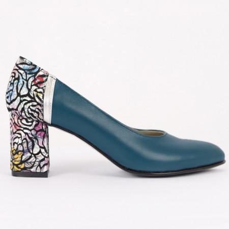 Pantofi cu toc din piele naturală Cod M1206 Ocean - Pantofi cu toc din piele naturală moale  Model deosebit de frumos pe toc  Calapod comod  Acești pantofi vă conferă lejeritate și eleganță - Deppo.ro