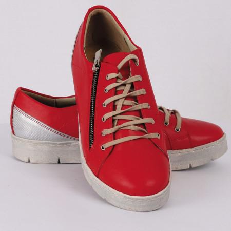 Pantofi sport din piele naturală rosu Cod 1256 - Pantofi damă din piele naturală  Foarte confortabili cu un tălpic special care conferă lejeritate chiar și în cazurile în care petreci mult timp stând în picioare. - Deppo.ro