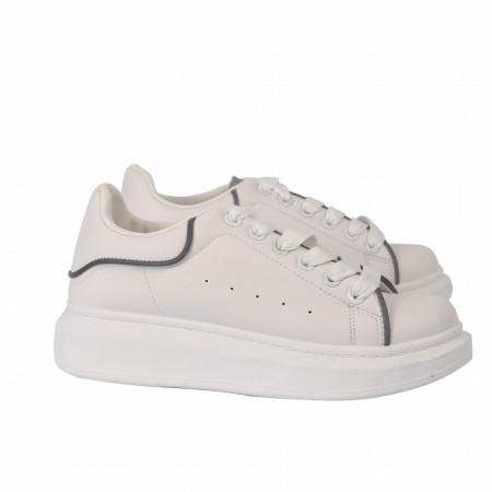Pantofi Sport pentru dame albi cod N442 - Pantofi sport foarte comozi, ideali pentru ieșiri si practicarea exercitiilor în aer liber - Deppo.ro