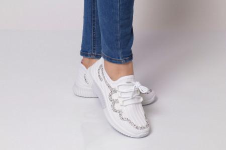 Pantofi Sport pentru dame Cod HQ-11-62 White - Pantofi sport pentru dame,dinpanză, talpă din spumă  Foarte ușori și comozi  Închidere prin șiret. - Deppo.ro