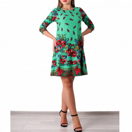 Rochie Corinne Green - Rochie casual, lejeră cu un design floral pe toată suprafața și spatele gol ideala pentru zilele calde de vară - Deppo.ro