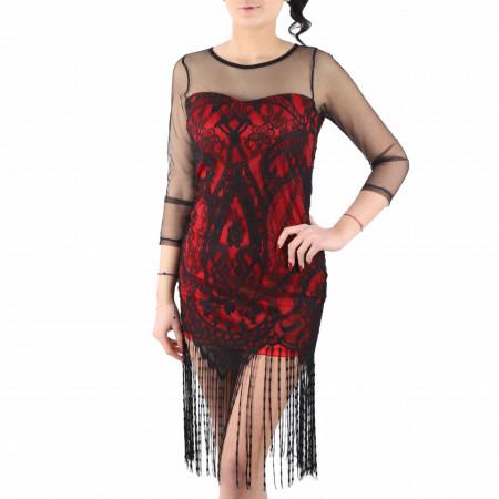 Rochie Senia Red - Rochie elegantă cu un decolteu acoperit cu plasă neagră dantelată, din plasă neagră dantelată, pune-ți silueta în evidență și atrage toate privirile - Deppo.ro