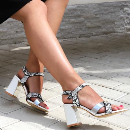 Sandale pentru dame cod Z10 White - Sandale pentru dama din piele ecologică  Închidere prin baretă  Calapod comod - Deppo.ro
