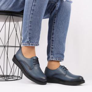 Pantofi din piele naturală albastră Cod 483