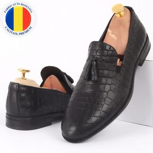 Pantofi din piele naturală cod 77143 Negri