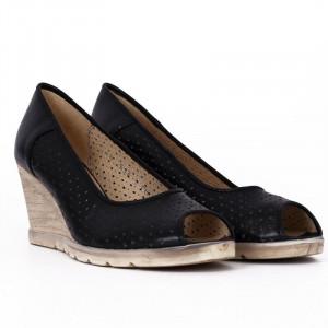 Pantofi din piele naturală cod 55672 Negri