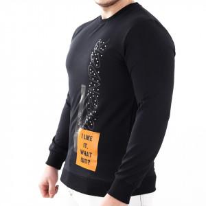 Bluză Jaden Black - Bluza simplă este cel mai versatil articol vestimentar din sezonul rece, o piesă cu reputaţie a stilului casual având compoziţia 95% bumbac şi 5% lycra - Deppo.ro