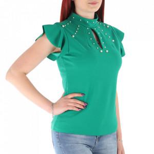 Bluză pentru dame cod VL14 Verde - Bluză pentru dame Închidere prin nasture Model decorativ cu perle - Deppo.ro
