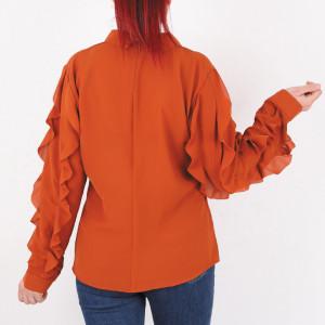 Bluză Vanessa Orange - Secretul eleganței constă în simplitate! Bluză elegantă pentru dame! Mânecă lungă cu imprimeu din volănașe! - Deppo.ro