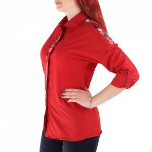 Cămașă pentru dame cod CSM9 Red - Cămașăpentru dame Model decorativ floral - Deppo.ro