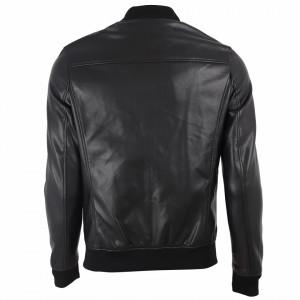 Geacă din piele ecologică pentru bărbați cod L622 Neagră - Geacă din piele ecologică pentru bărbați model primăvară-toamnă pe negru - Deppo.ro