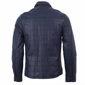 Geacă din piele ecologică pentru bărbați cod M1051 Bleumarin - Geacă din piele ecologică pentru bărbați model primăvară-toamnă pe negru - Deppo.ro