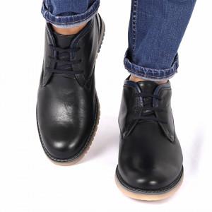 Ghete din piele naturală cod 212 Negre - Ghete din piele naturală cu interior îmblănit și inchidere cu șiret - Deppo.ro