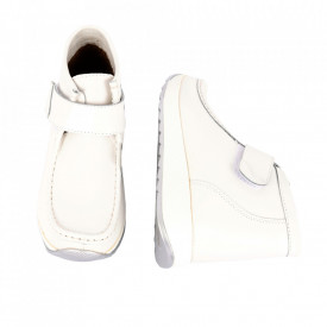 Ghete din piele naturală cod PL-3014 White - Ghete din piele naturală cu inchidere prin scai, stil casual. - Deppo.ro