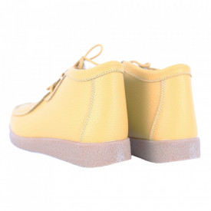 Ghete din piele naturală cod PL-9602-2 Yellow - Ghete din piele naturală cu inchidere prin scai, stil casual. - Deppo.ro