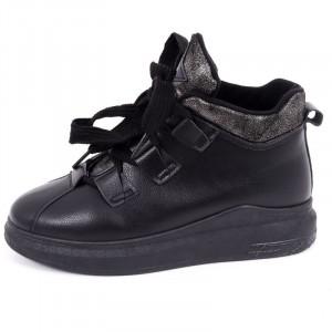 Ghete pentru dame cod 5180 Negre - Ghete din piele ecologică sport cu închidere prin șiret - Deppo.ro