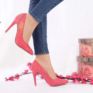 Pantofi cu toc cod A259 Coral - Pantofi din piele ecologică, foarte confortabili potriviți pentru evenimente speciale. - Deppo.ro