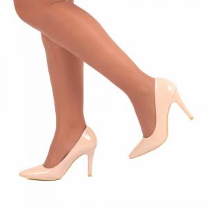Pantofi cu toc cod A55051 Bej - Pantofi cu toc din piele ecologică foarte confortabili cu un calapod comod - Deppo.ro