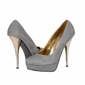 Pantofi cu toc cod B2386 Arginti