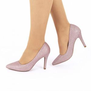 Pantofi Cu Toc cod B5505 Pink - Pantofi cu toc ascuțit din piele ecologică cu glitter. Fi in pas cu moda si străluceste la urmatoarea petrecere. - Deppo.ro