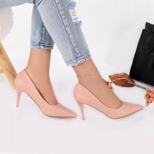 Pantofi cu toc cod EK0030 Roz - Pantofi cu toc din piele ecologică cu un design unic, fii în pas cu moda şi străluceşte la următoarea petrecere. - Deppo.ro
