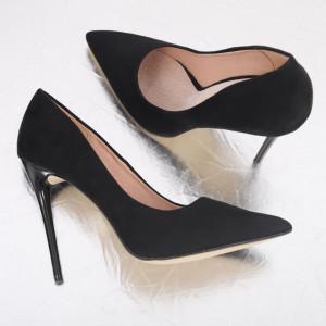 Pantofi cu toc cod EK0096 Black - Pantofi din piele ecologică, cu vârf ascuţit şi toc subţire, foarte confortabili cu un calapod comod - Deppo.ro