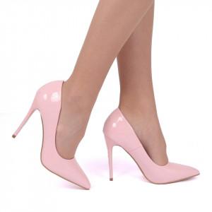 Pantofi cu toc cod EK0097 Roz - Pantofi din piele ecologică, cu vârf ascuţit şi toc subţire, foarte confortabili cu un calapod comod - Deppo.ro