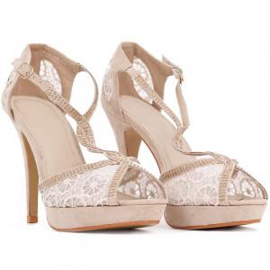 Pantofi cu toc cod H2027 Bej
