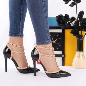 Pantofi cu toc cod JS7085 Negri
